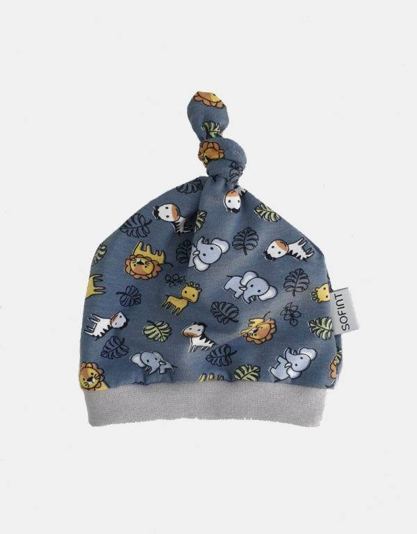 Babymütze blau-grau mit Tieren (Bio-Jersey)