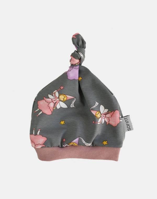 Babymütze grau mit Fee / Prinzessin
