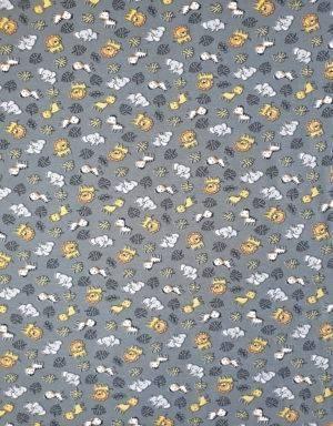 Bio-Jersey blau-grau mit Tieren