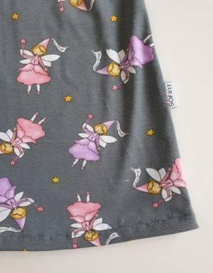 Kurzarm-Kleid / Hängerchen grau mit Fee / Prinzessin