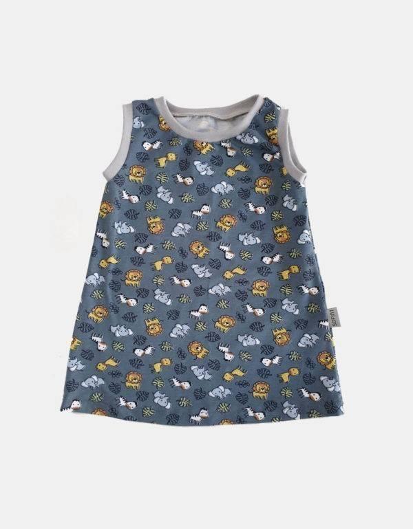 Kurzarm-Kleid / Hängerchen blau-grau mit Tieren (Bio-Jersey)