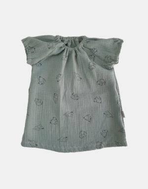 Kurzarm-Kleid Musselin pastellgrün mit Elefant