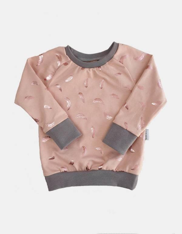 Langarm-Shirt zart kupfer-rosé mit glänzenden Federn