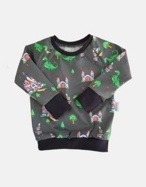 Langarm-Shirt grau mit Drachen und Ritter