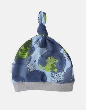 Babymütze blau mit Krokodil