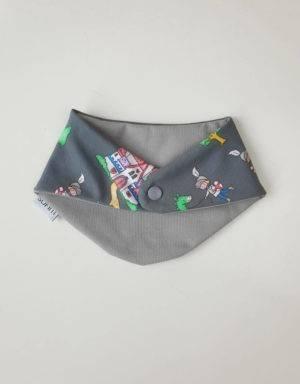 Dreieck-Tuch grau mit Drachen und Ritter