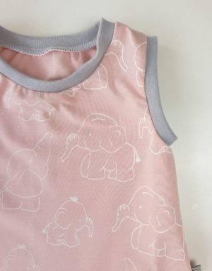 Kurzarm-Kleid / Hängerchen hellrosa mit Elefant, Gr 80