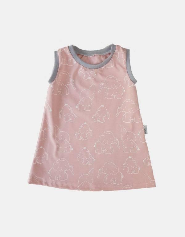 Kurzarm-Kleid / Hängerchen hellrosa mit Elefant