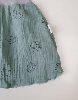 Rock aus Musselin pastellgrün mit Elefant