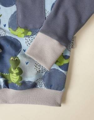 Langarm-Shirt blau mit Krokodil