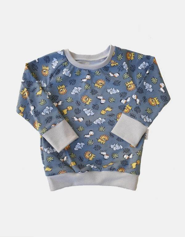 Langarm-Shirt blau-grau mit Tieren (Bio-Jersey)
