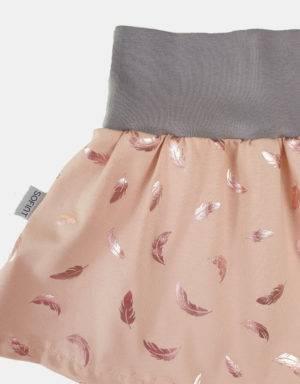Rock zart kupfer-rosé mit glänzenden Federn