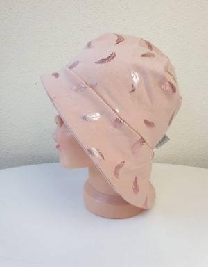 Sonnenhut zart kupfer-rosé mit glänzenden Federn