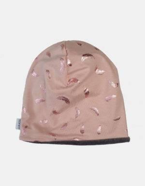 Wendemütze zart kupfer-rosé mit Federn