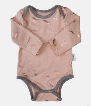 Body langarm zart rosé-kupfer mit Federn