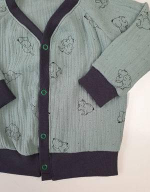 Cardigan aus Musselin, pastellgrün mit Elefant