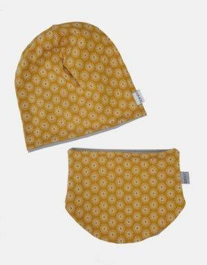 Wendemütze + Halssocke senf-gelb mit Blume