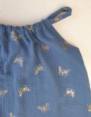 Romper aus Musselin, blau mit goldenen Schmetterlinge