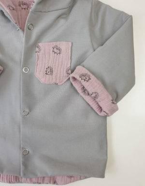 Wendejacke aus Musselin zart rosa mit Igel
