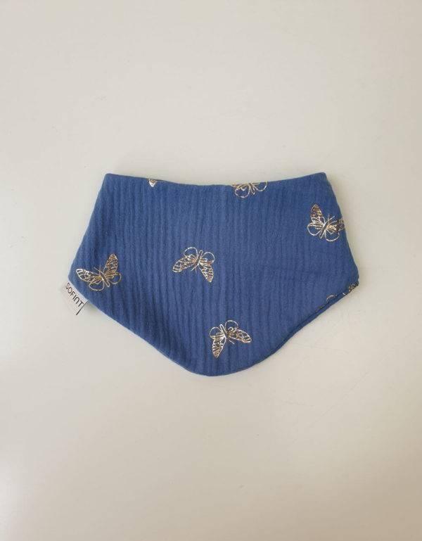 Dreieck-Tuch Musselin blau mit goldenen Schmetterlinge