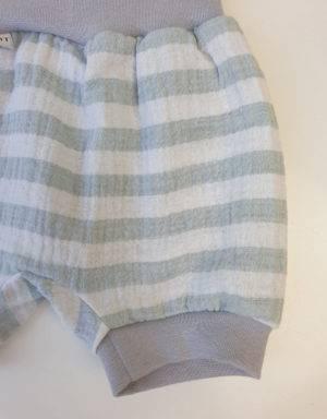 Kurze Hose aus Musselin gestreift mintgrün / weiß