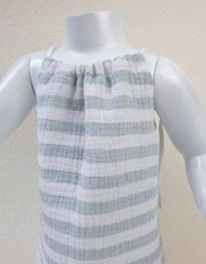 Sommer-Kleid aus Musselin gestreift grün / weiß
