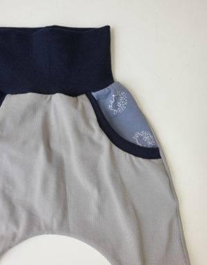 Pumphose (Baggy-Style) grau mit Taschen, blau Igel