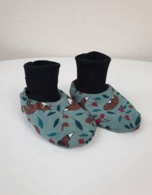 Baby-Schuhe grün mit Fuchs, gefüttert mit Nicki