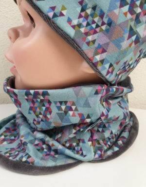 Wendemütze + Halssocke grau mit Dreiecke