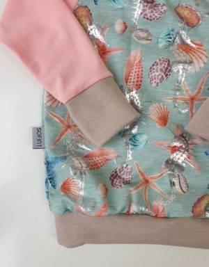 Langarm-Shirt pfirsich und Seepferdchen, Seestern, Muschel