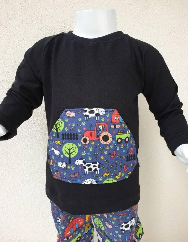 Langarm-Shirt schwarz mit Tasche
