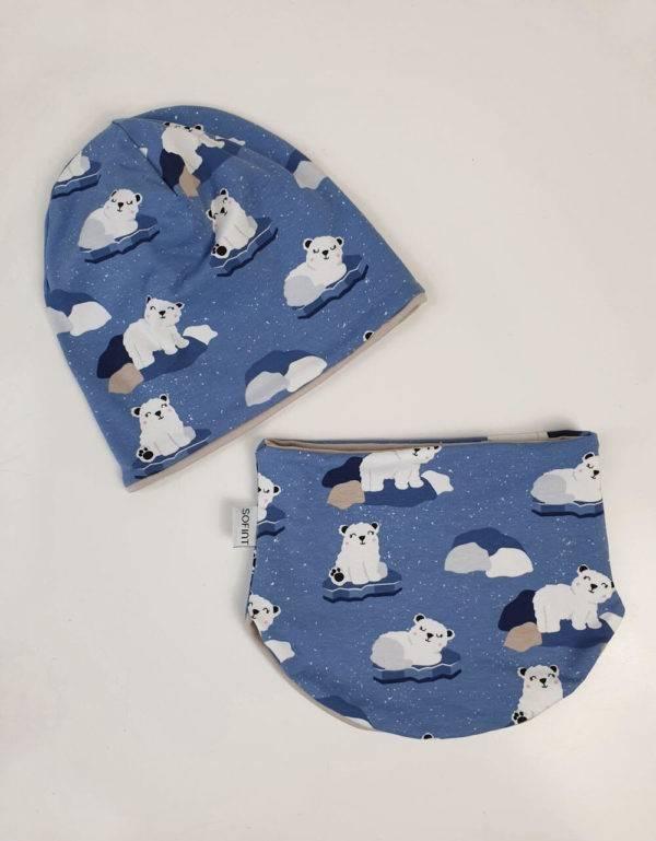 Wendemütze + Halssocke blau mit Eisbär auf Eisscholle