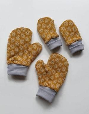 Handschuhe senf-gelb mit Blumen, Futter aus Nicki