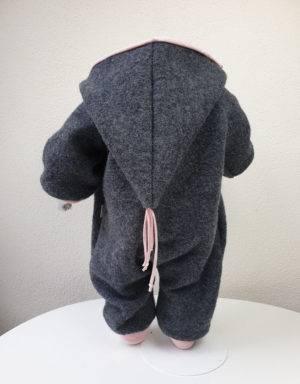 Walk-Anzug dunkelgrau, hellrosa mit Elefant