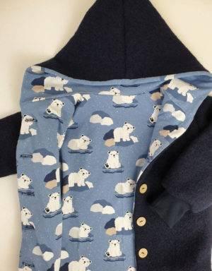 Walkjacke dunkelblau, blau mit Eisbär auf Eisscholle
