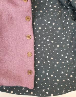Walkjacke rosa, grau mit Sterne