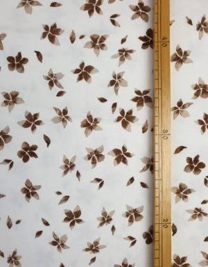 Jersey weiß mit braunen Blumen