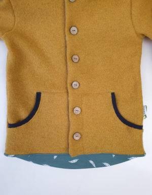 Walkjacke senf-gelb, grün mit Feder, Taschen (optional)