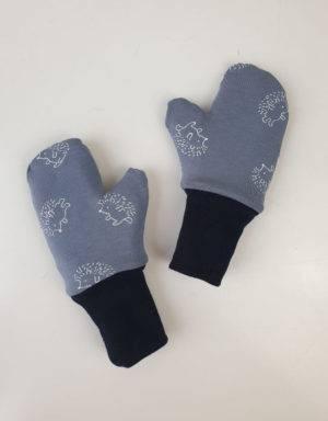 Handschuhe blau mit Igel