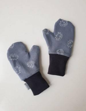 Handschuhe blau mit Igel, Futter aus Nicki