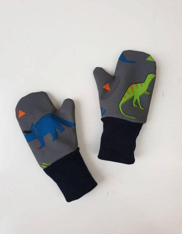 Softshell-Handschuhe grau mit Dinosaurier