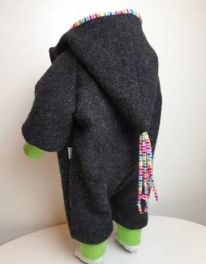 Walk-Anzug grau-schwarz, Regenbogen-Streifen