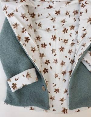 Walkjacke mintgrün, weiß mit braunen Blumen