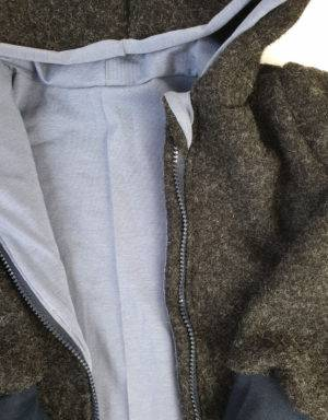 Walkjacke grau-schwarz, blau