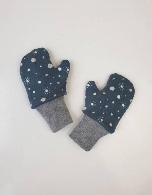 Handschuhe grau mit Sterne, Futter aus Nicki