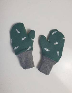 Handschuhe grün mit Feder, Futter aus Nicki
