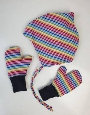 Handschuhe Regenbogen-Streifen, Futter aus Nicki