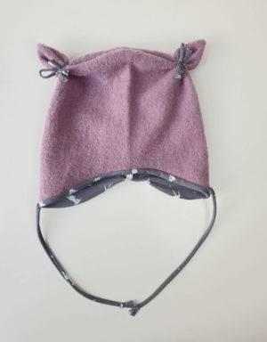 Ohrenmütze aus Walk rosa, grau mit Kaninchen