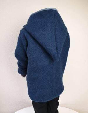Walkjacke dunkelpetrol, blau mit Strichen (Musselin)