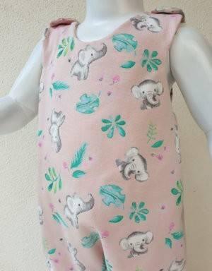 Strampler zart rosa mit Elefant und Blatt
